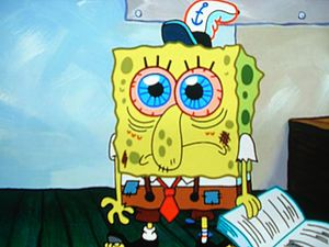 Spongebob doing homework